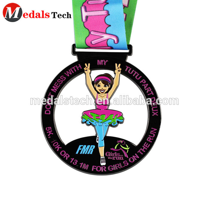Custom 2021 danceevent women pretty sport metal round rotatable auto medal with ribbon