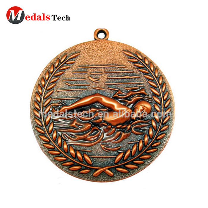 Promotional enamel simple round antique sport award custom 2d design gold hollow souvenir metal medal trophy custom