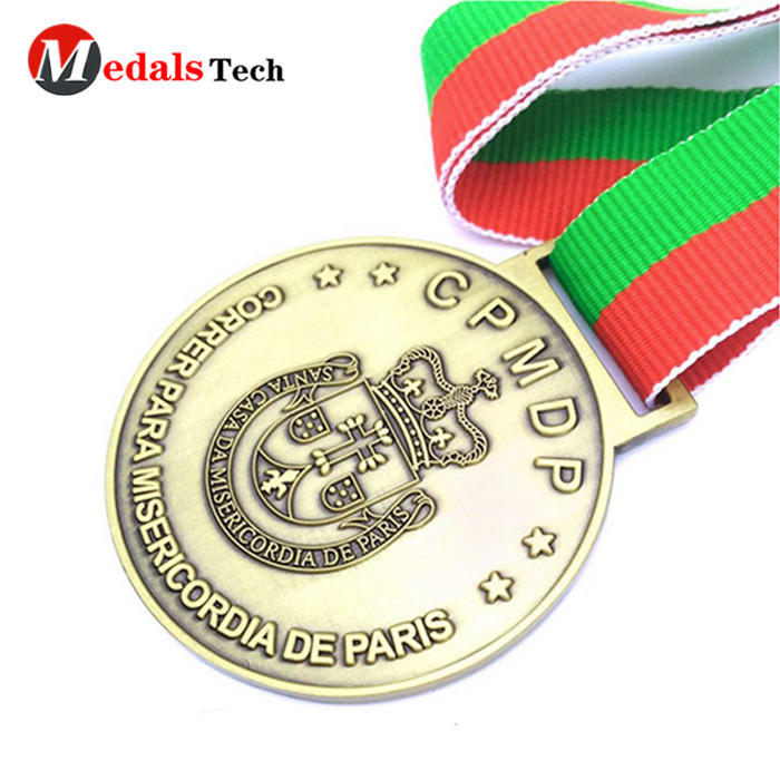 Promotional enamel simple round antique sport award custom 2d design gold hollow souvenir metal medal trophy custom