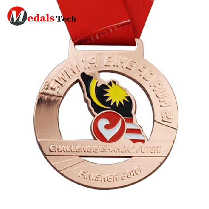 Free sample antique plating custom logo events souvenir Malaysia national flag medal
