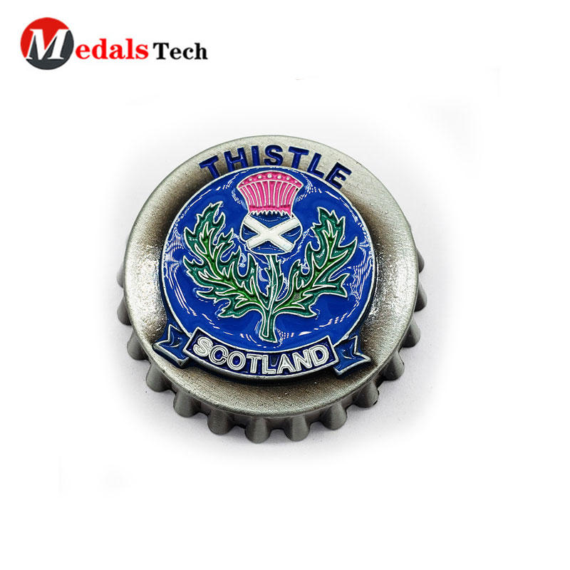 Die castingthanksgiving assembly Bottle caps shape antique virtual running race medals with bottle opener