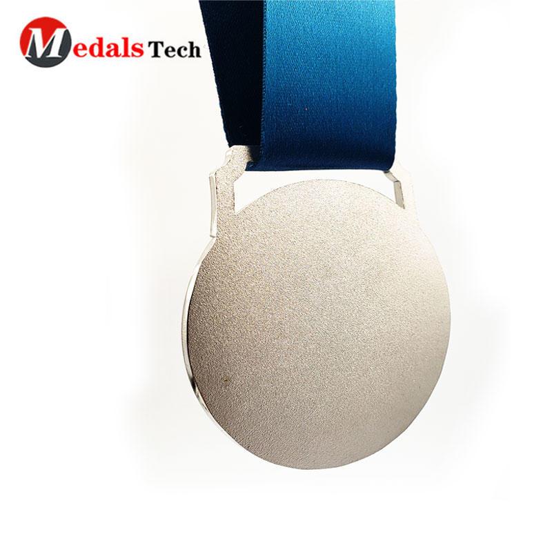 Shenzhen custom engraved custom soft enamel glitterlogo smooth silver plating metal sport over run medals