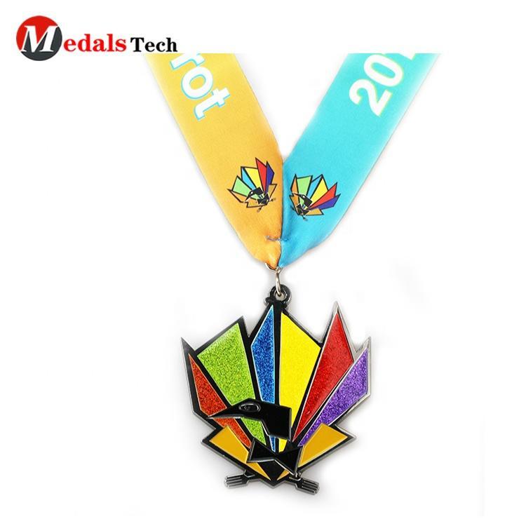 High quality custom metal 3D rainbow bird colorful glitter commemorative custom medal bronze