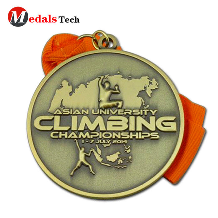 Custom cheap metal 3D antique bronze cut out finisher custom metal marathon sports medallion and medals