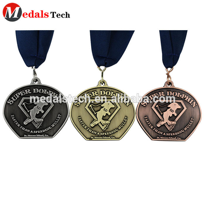Creative shaped unique marathon finisher gold silver and bronze medals with lanyard
