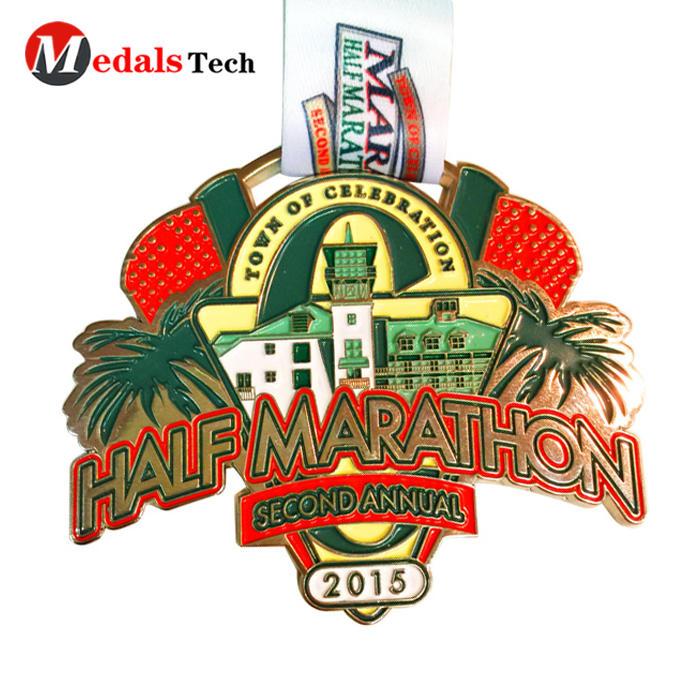 Factory direct sale color filled surface town celebration half marathon medal trophy custom gold plated