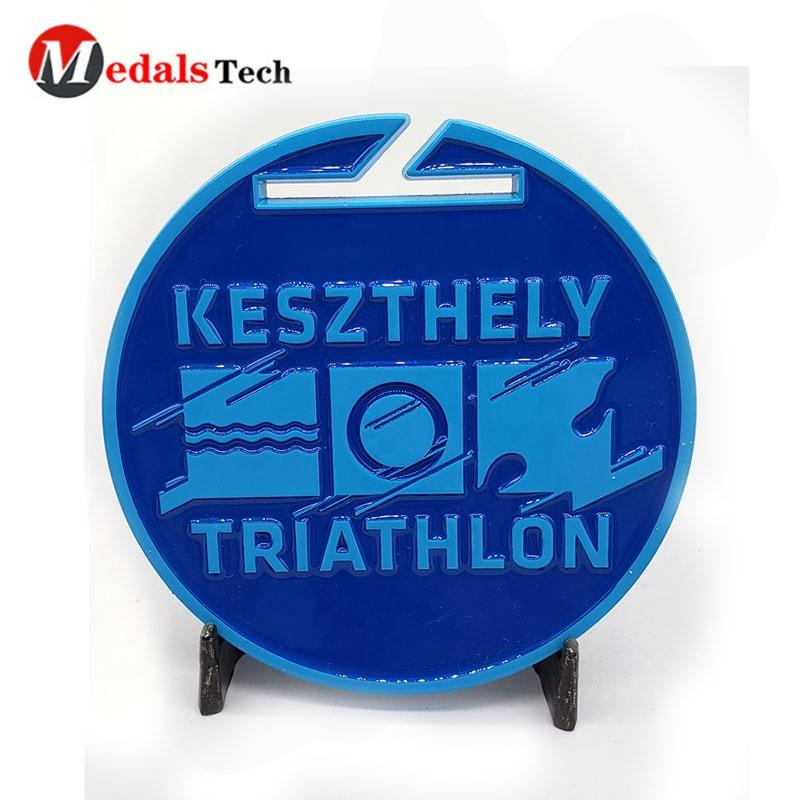 Free sample popular sports game spray paint blue plating Swimming Road bike Running Triathlon medals