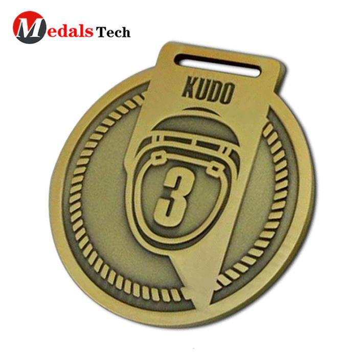 Gold Medal Medallion 3d challenge simple design zinc alloy medal antique gold