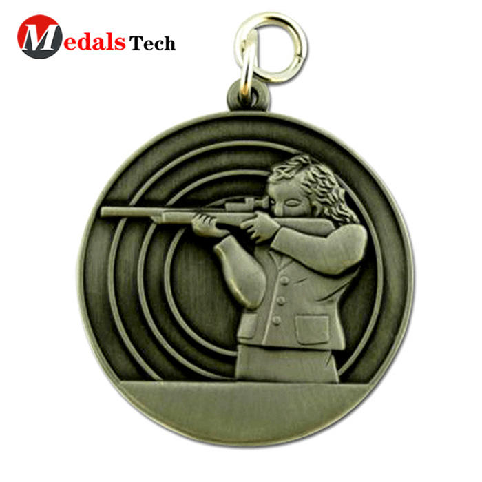 Wholesale custom cheap 3d logo shooting sports medallion medal