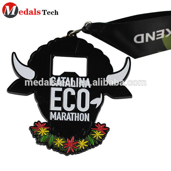 Matt Black Plating Metal Zinc Alloy 3D Embossed Cattle shape beer sponsorship race marathon bottle opener medals with ribbon