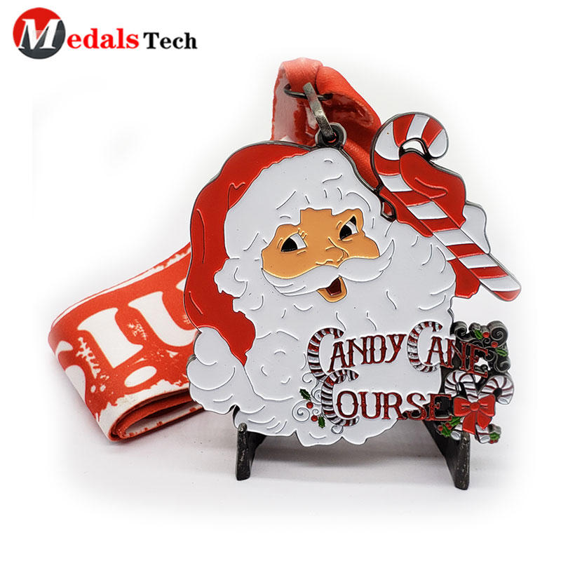 Custom city marathon event 3d round embossed laser Santa Claus metal silver metal medal with red ribbon