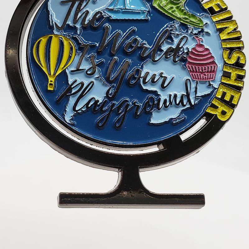 2021 Cheap antique gun plating earth globe shape custom logo education reading medals and trophies custom