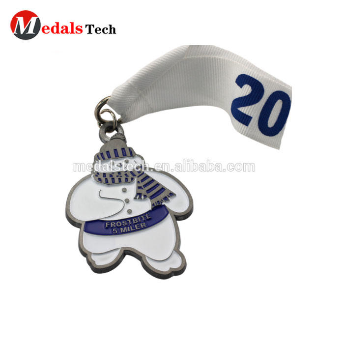 Custom metal snowman cheap 5k running sports medal