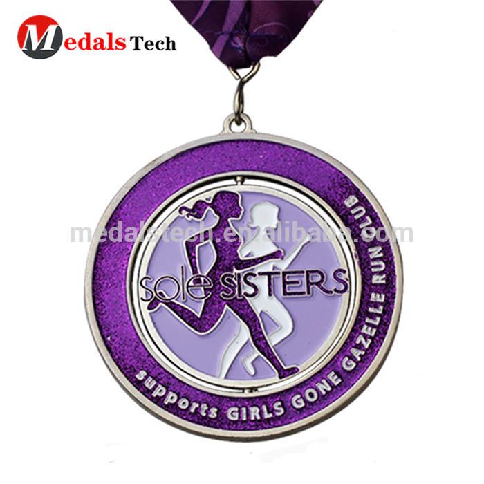 Factory custom make die casting triathlon sports spinning medallion medal