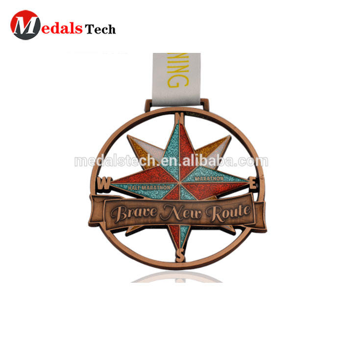 Best sale british popular antique gold silver copper plated 3D cut out star custom performing arts school dance medal