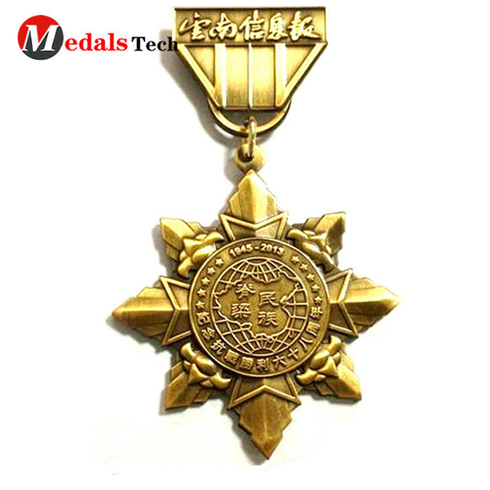 Shenzhen sullier five star shape antique gold classic anniversary metal army souvenir medal