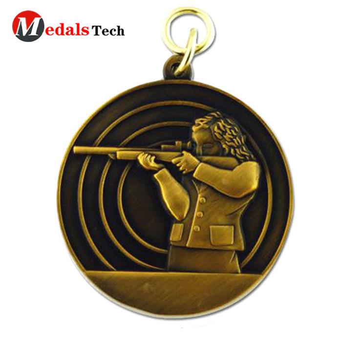 Wholesale custom cheap 3d logo shooting sports medallion medal