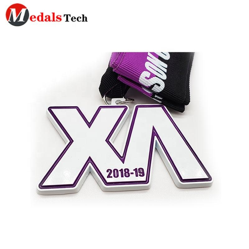 Custom madeWhite paint with purple filled 30km sport event three-dimensional medal in best price