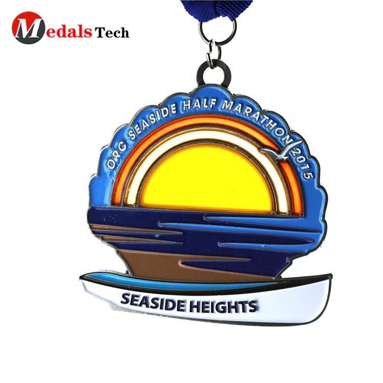 No minimum order custom Environmental protection theme silver metal 3d city half marathon custom medal ribbon