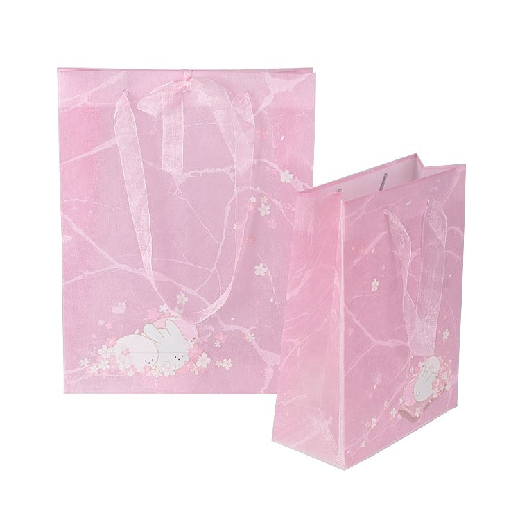 New Material Eco Friendly Biodegradable Reusable Pink Non-woven Shopping Gift Bag with Ribbon Handle