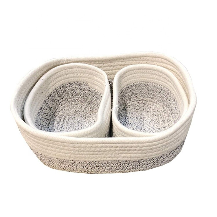 small white and grey cotton rope knit bathroom storage basket set 3 fruit snacks storage bin