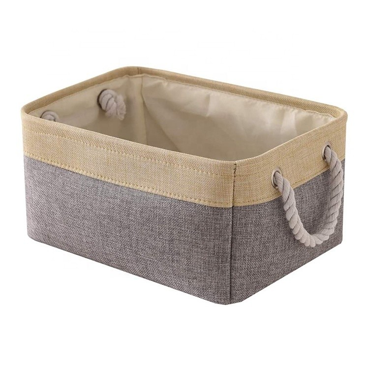 collapsible fabric bin decorative wardrobe shelf basket with rope handles for clothes storage toy