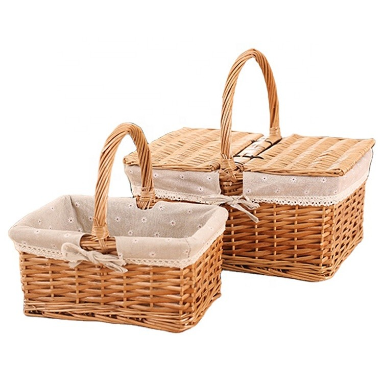 rural wind hand-woven cube wicker garden picnic storage baskets with handle 30x20x15cm