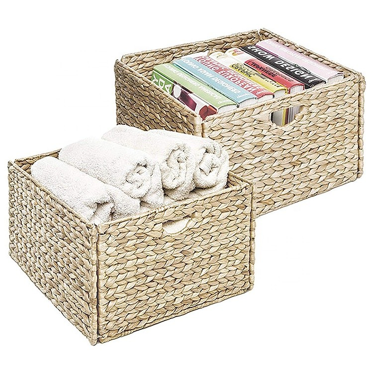 custom concise and delicate style collapsible weaving water hyacinth storage bedroom basket box