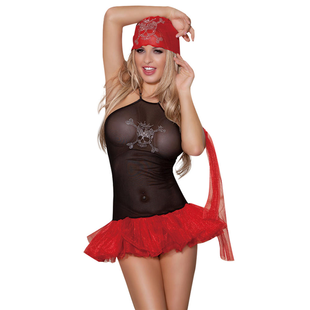 Last design USA polyester black and red sexy cheerleader costume