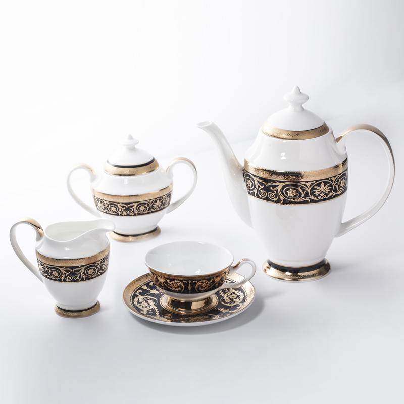 Dubai Black Embossed Bone China Crockery Golden Coffee Set Tea Set, Restaurant Modern Luxury Dinnerware Coffee Set>