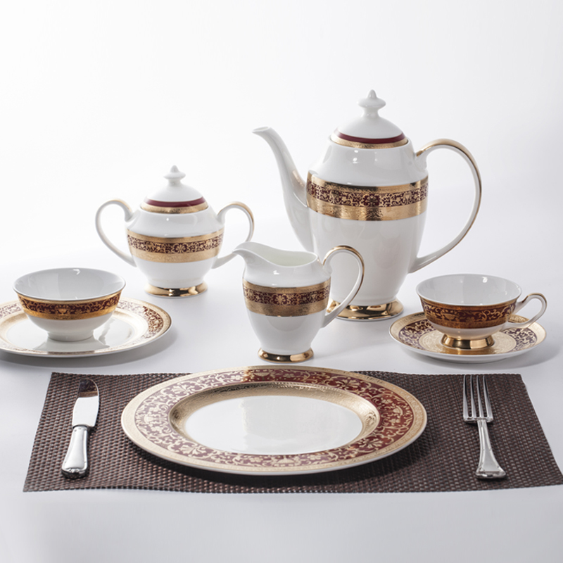 Luxury Crockery Tableware Bone China Decal Dinnerware Tea Set, Restaurant Modern Luxury Dinnerware Coffee Set%