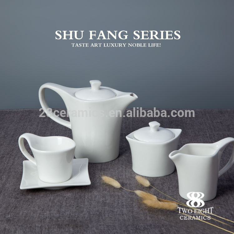 Wholesale western-style restaurant crockery white wedding classic coffee/tea set fine ceramic tableware