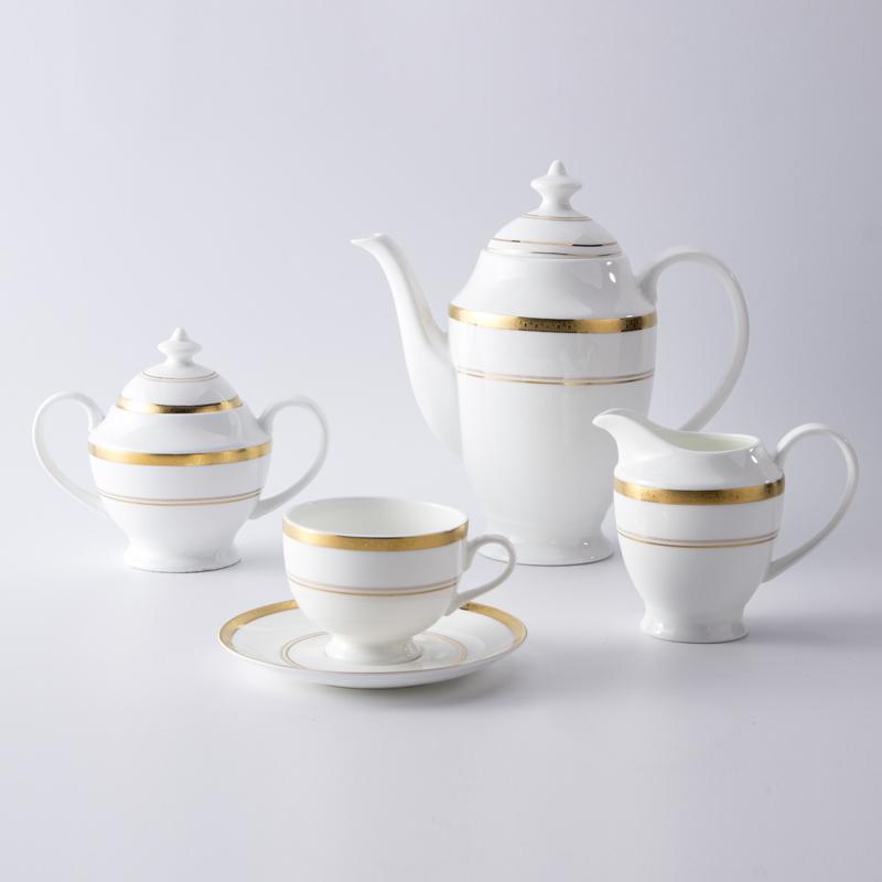 Bone China Crockery Golden Rim Tableware Ceramic Tea Set, Restaurant Modern Luxury Dinnerware Coffee Set*