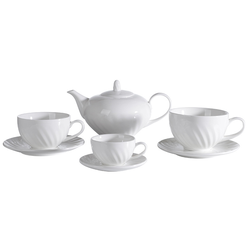 Customized Stocked Elegant Coffee Cup, White Hotel Restaurant Porcelain Coffee Set