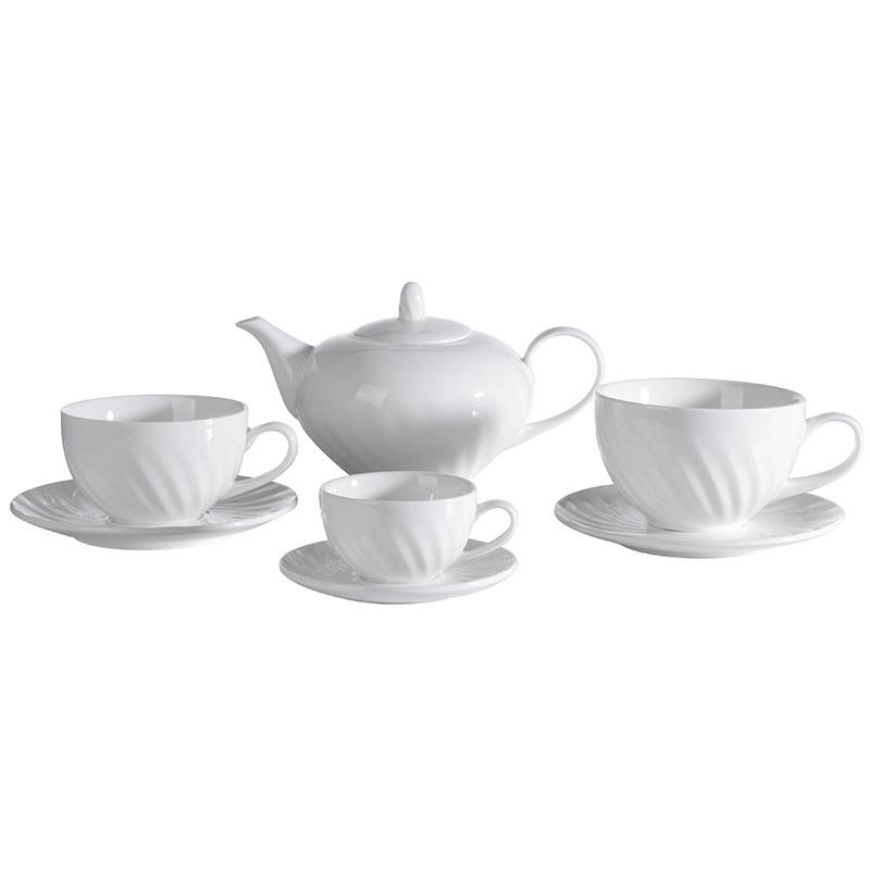 Customized Stocked Elegant Coffee Cup, White Hotel Restaurant Porcelain Coffee Set