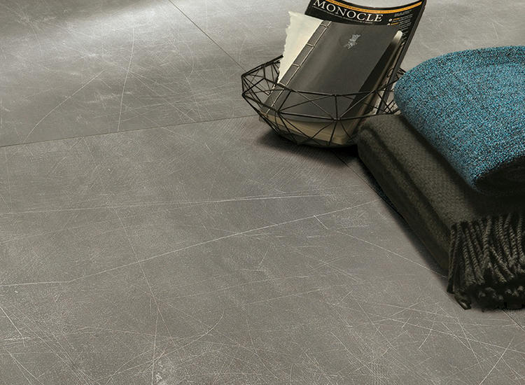 Storm Grey Scratch Concrete Effect Porcelain tiles Living Room BIG Project 36x36 Kajaria Floor Hexagon Ceramic Matte Tiles