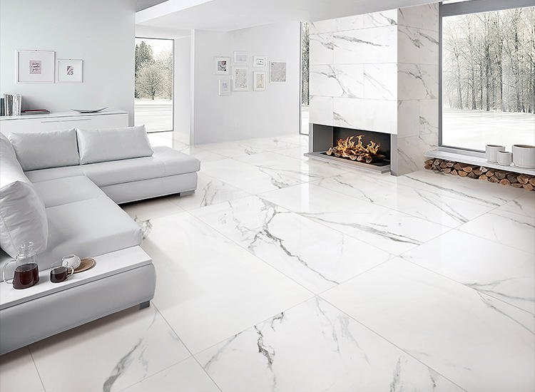 Carrara X White tiles and Marble look porcelain tile lowes Living room Ceramic tiles 24x24