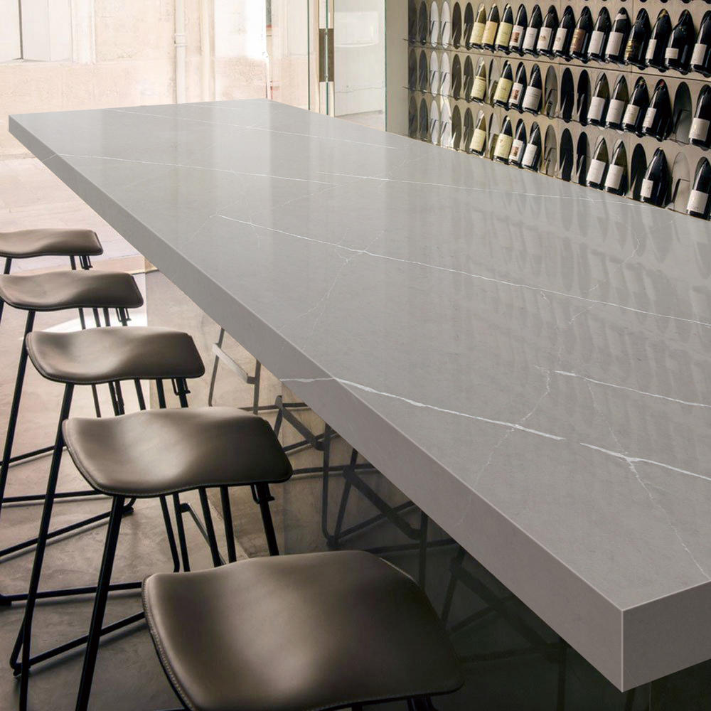 GHS - Pietra Grey Polish Artificial Stone Raw Quartz Stone Slab Countertop Veneer Molds Vanity top Engineering Stone Slab