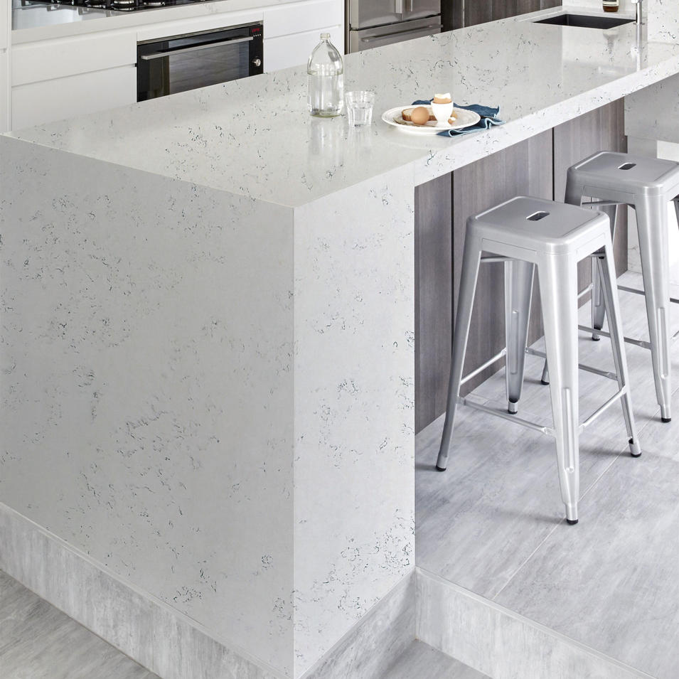 MGS-Carrara White Marble Artificial Quartz Stone Panel Slab Vanity Countertop Solid Surface cupc approval Engineered Stone