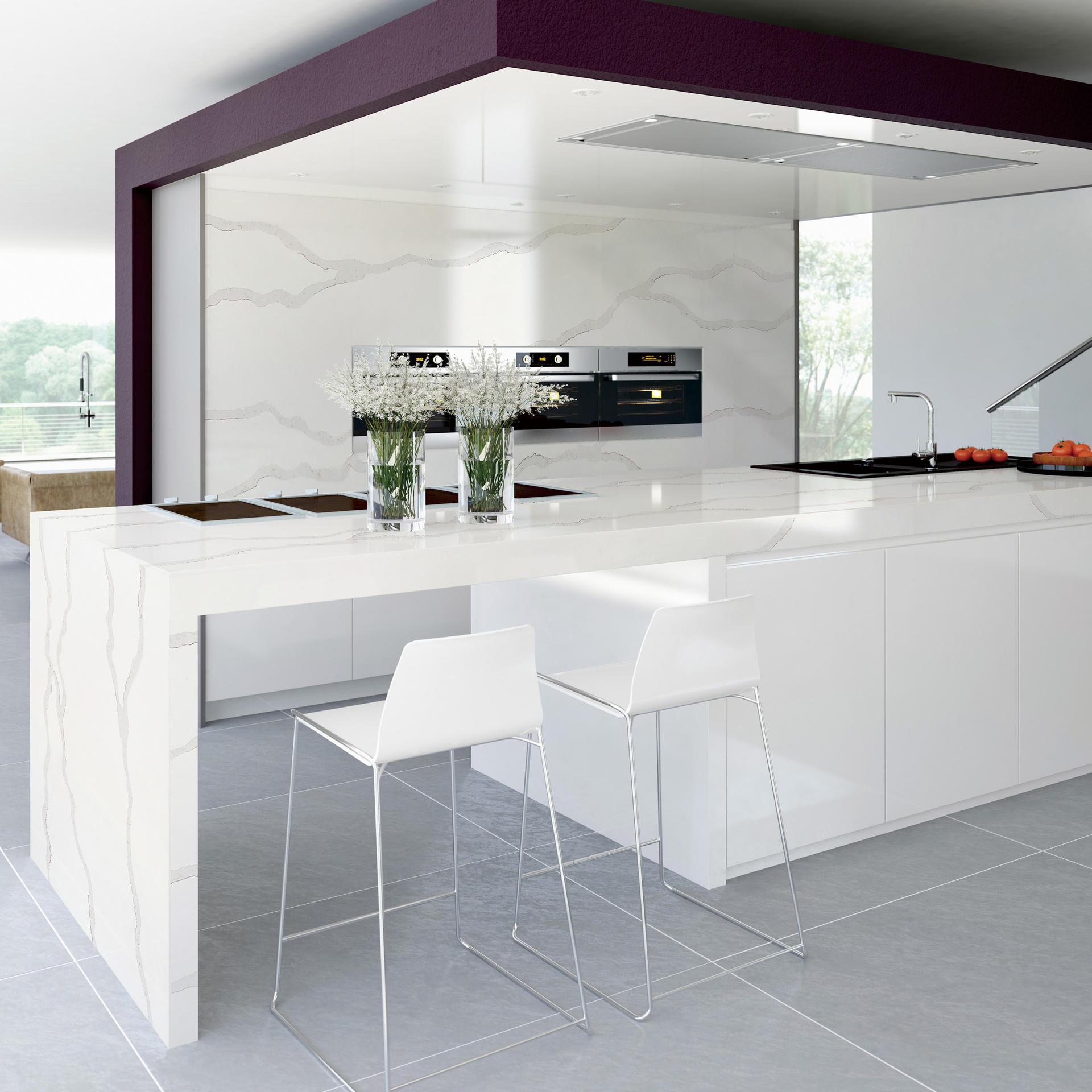 LK-Calacatta White Grey Marble Artificial Stone Molds Polished Vanity Countertop Bathroom Kitchen Engineered Stone Jumbo Slab