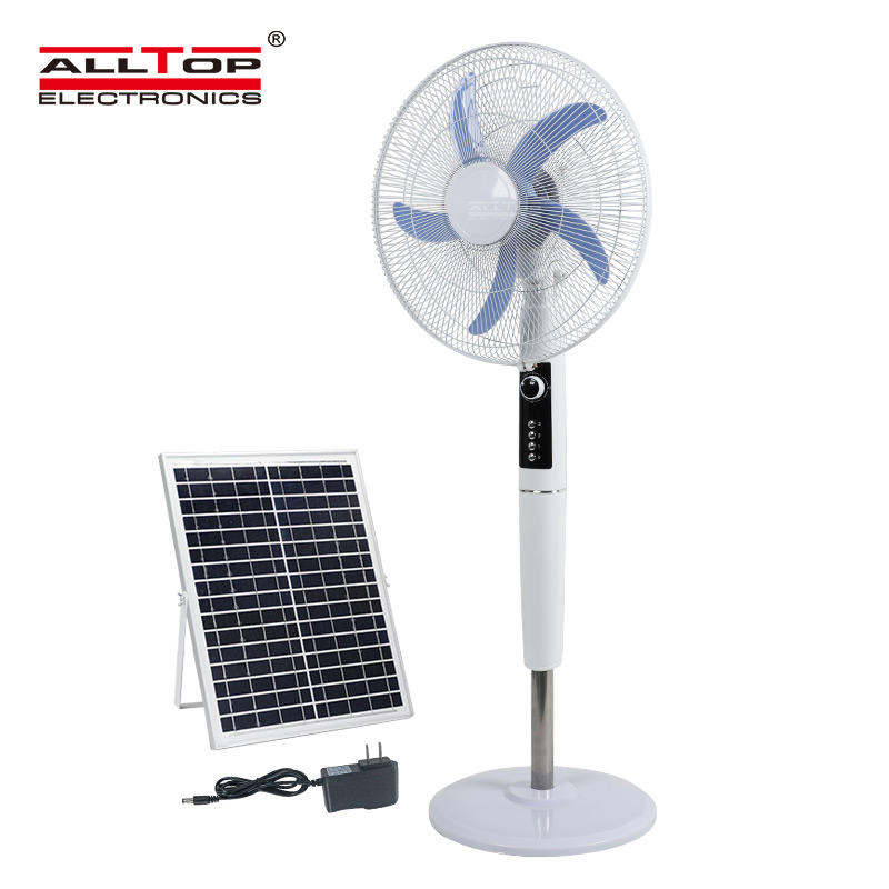 Hot sale 18 inch home height adjustable three-wind speed solar floor fan