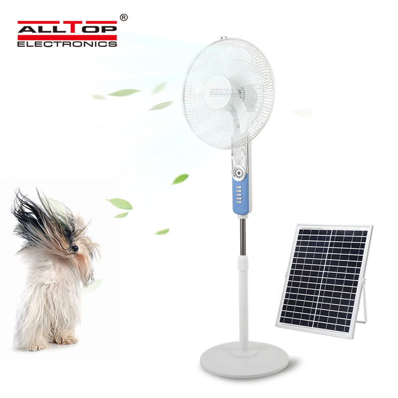 ALLTOP Hot selling 16 inch remote control smooth air-out strong wind wide angle adjustment solar floor fan