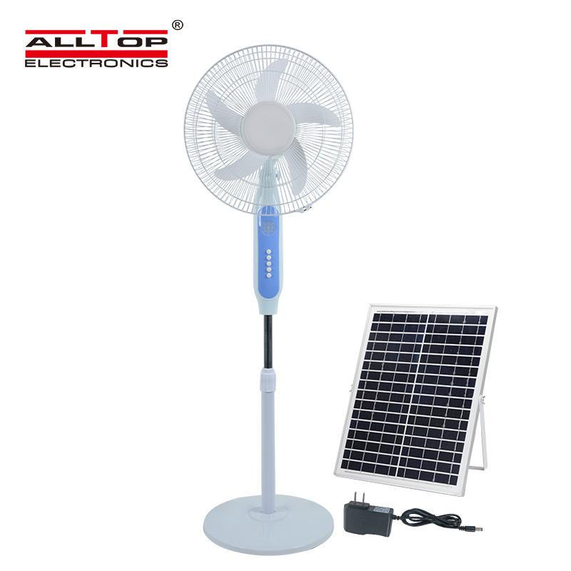 ALLTOP New Solar panel low noise strong wind mini floor stand fan 16 Inch solar fan
