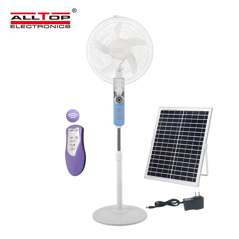 Hot selling 16 inch home height adjustable stand mini solar fan electric pedestal stand solar floor fan with remote control