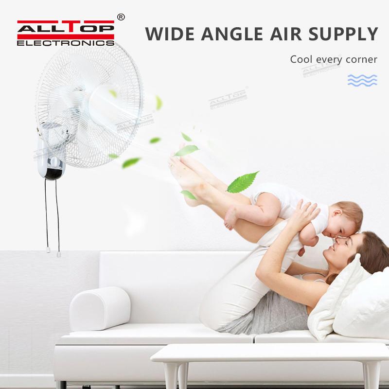 ALLTOP High Quality Five-leaf Bionic Fan Blade Three-wind Speed 16 Inch Solar Wall Mounted Fan