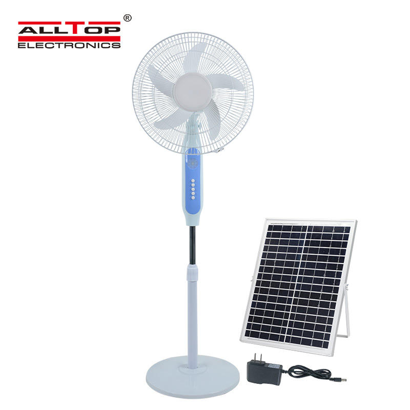 ALLTOP New Solar Panel AC/DC Charging Lubrication Motor 16 Inch Solar Stand Fan