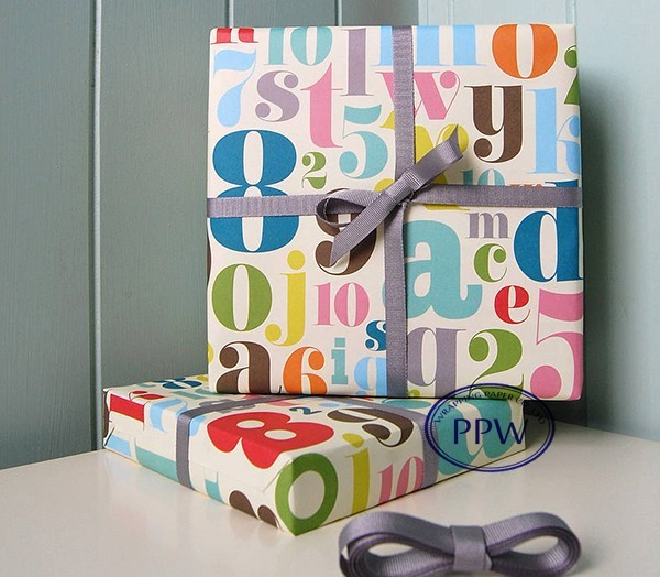 Colorful Arabic Numerals Printed Gift Wrapping Paper