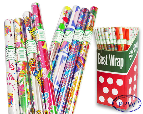 Western Types of Gift Wrapping Paper With display packing