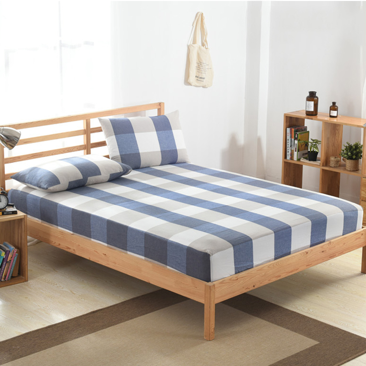 Enerup Custom Wholesale Grid 100% Copper Ion Polyester Cotton King Size Cover Fitted Bed Sheet Set