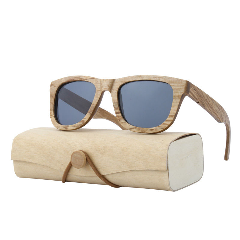 EUGENIA In stock high quality real wooden frame sunglasses with same color wooden round sunglasses case